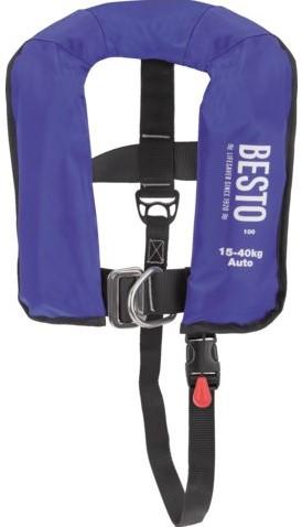 Besto Junior Auto Harnas 150N reddingsvest- blauw